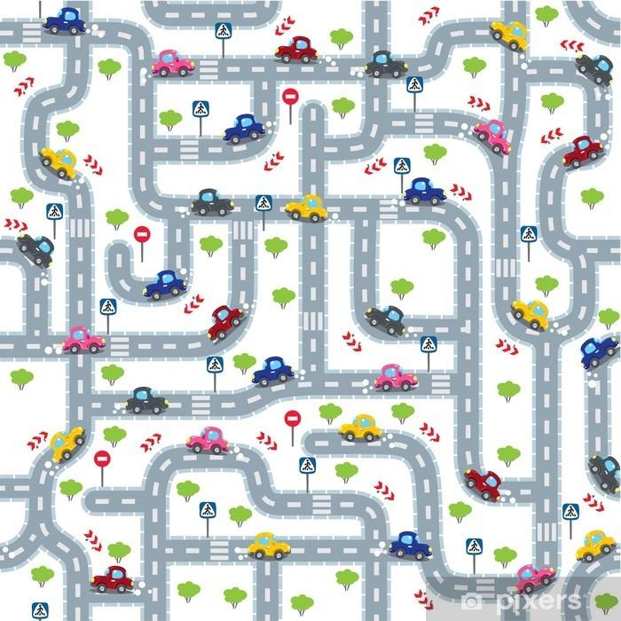 Naklejka Pixerstick Droga szwu z zabawnymi samochodów - Transport