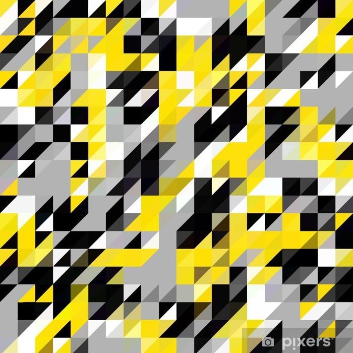 Fotomural Estándar Triángulo patrón de formas geométricas. negro y amarillo - Recursos gráficos
