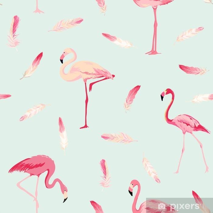 Afwasbaar Fotobehang Flamingo Bird Achtergrond. Flamingo Veer Achtergrond. Retro Naadloos Patroon - Dieren