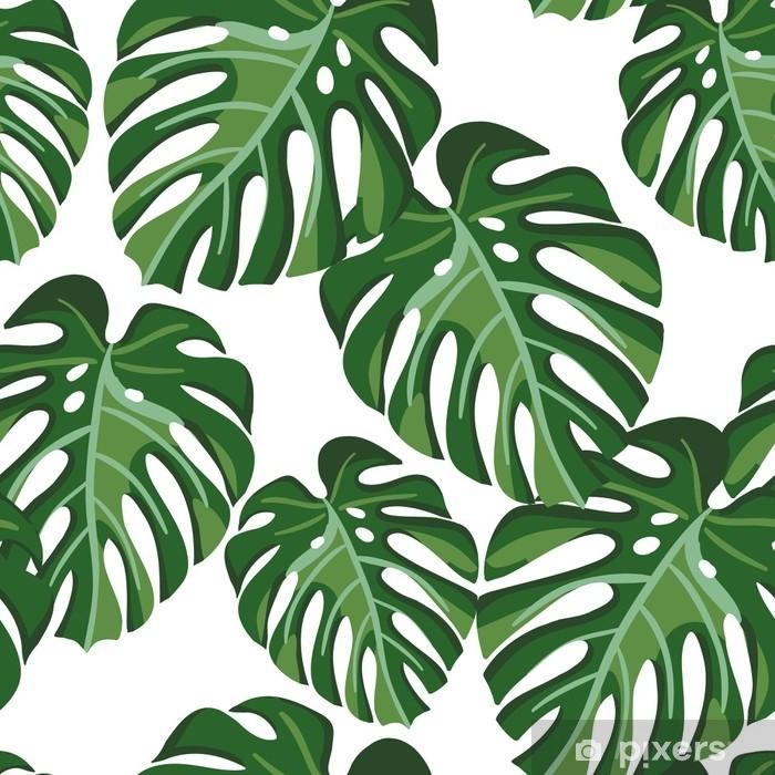 Afwasbaar Fotobehang Monstera palmbladeren op de witte achtergrond. vector naadloze patroon met tropische plant. tropisch oerwoud. - Bloemen en Planten