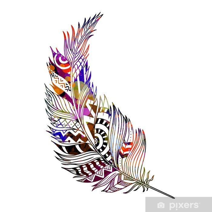 Vinilo Pixerstick Vector Illustration of an Abstract Ornamental Feather - Fondos