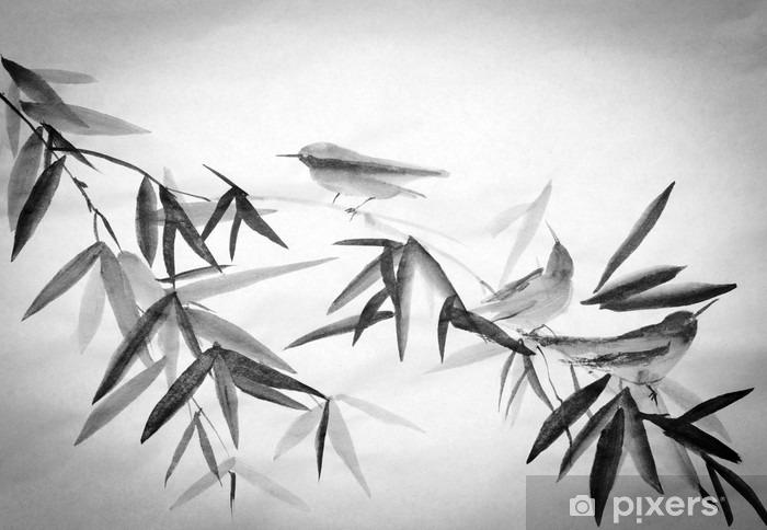 Sticker pour vitres et fenêtres Bambou et trois birdies branche - Passe-temps et loisirs