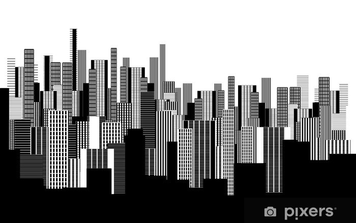 a two colors graphical abstract urban landscape wallpaper in black and white Washable Wall Mural - Landscapes