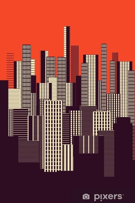Naklejka na drzwi Trzy kolory graficzny plakatu streszczenie miejskiego krajobrazu w kolorze pomarańczowym i brązowym - Krajobrazy