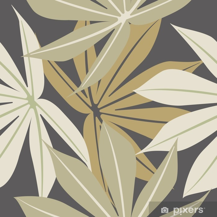 Stylish seamless pattern with tropical leaves Pixerstick Sticker - Plants and Flowers