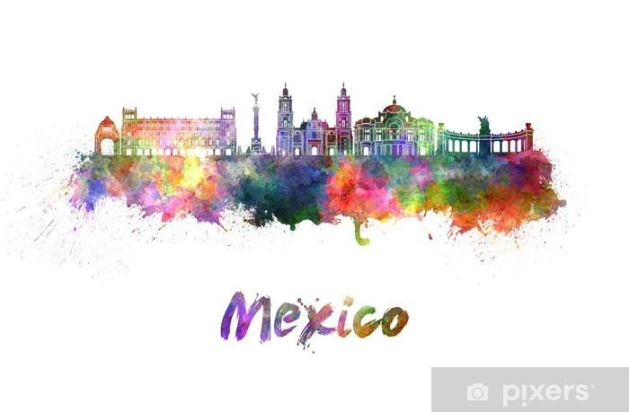 Fotomural Horizonte de la Ciudad de México en acuarela • Pixers ...