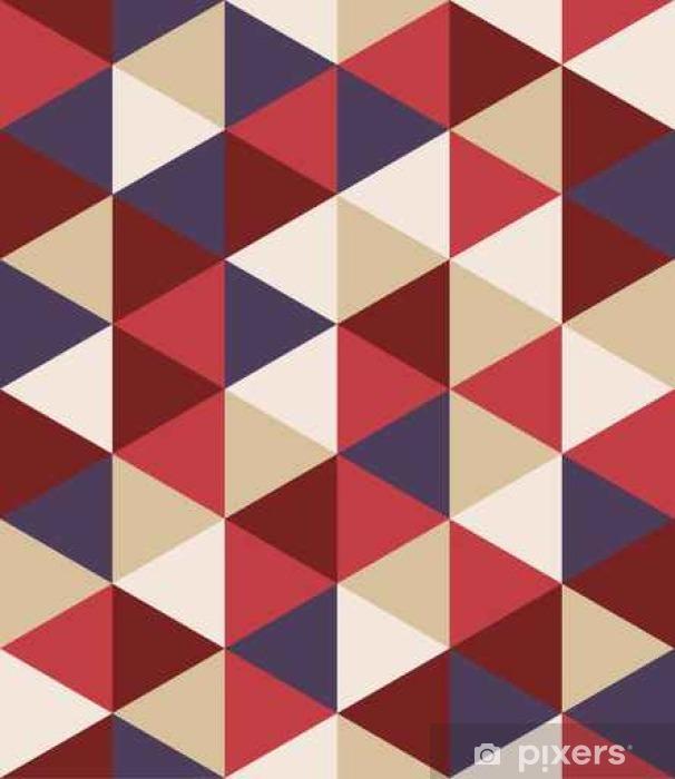 Fototapeta winylowa Wektor kolorowy nowoczesny szwu geometrii trójkąta, kolor abstrakcyjne geometryczne tło, poduszka wielobarwny druk, retro tekstury, projektowanie mody hipster - Zasoby graficzne