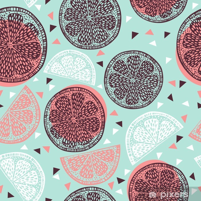 Papier peint vinyle Citrus motif graphiques - Nourriture