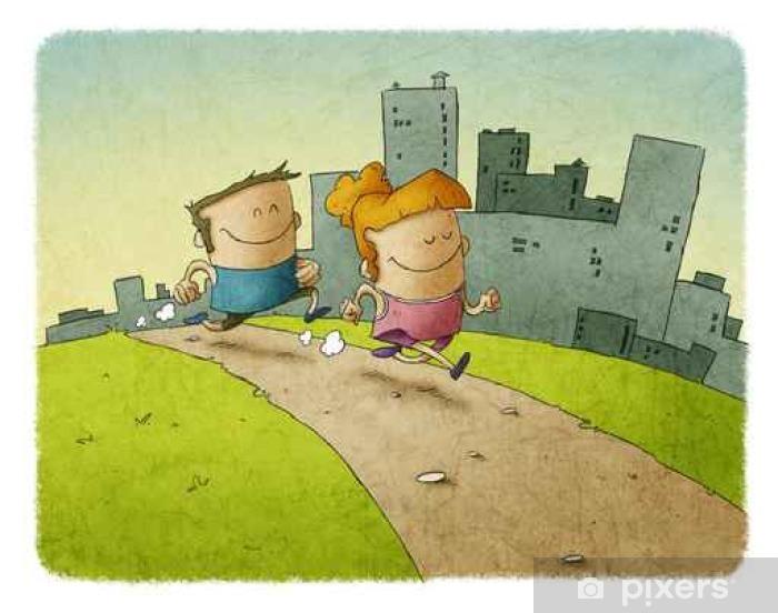 Man and woman running on track Pixerstick Sticker - Sports