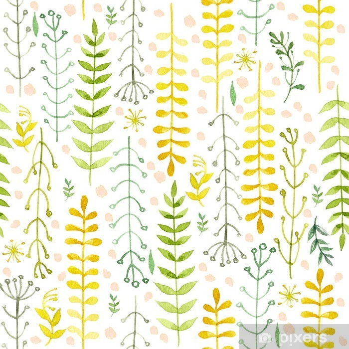 Pattern of flowers painted in watercolor on white paper. Sketch of flowers and herbs. Wreath, garland of flowers. Pixerstick Sticker - Flowers and plants