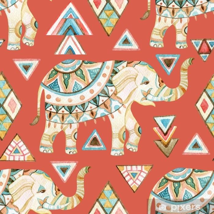 Fotomural Autoadhesivo Acuarela de elefante indio adornado con elementos tribales de patrones sin fisuras - Recursos gráficos