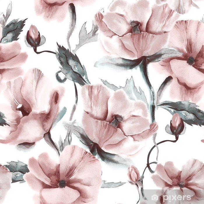 Vinyl Fotobehang Bloemen naadloos patroon - Bloemen en Planten