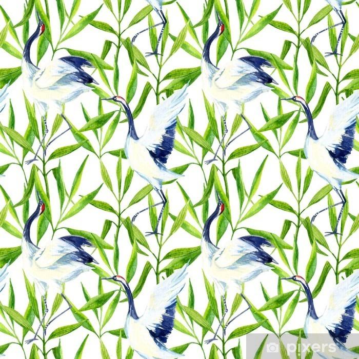 Adesivo Pixerstick Acquerello asiatico gru uccello seamless - Animali