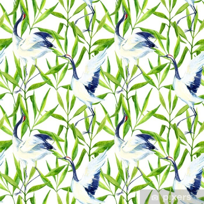 Watercolor asian crane bird seamless pattern Pixerstick Sticker - Animals
