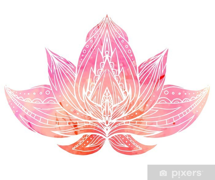Color Lotus with boho pattern and watercolor background. Pixerstick Sticker - Relaxation