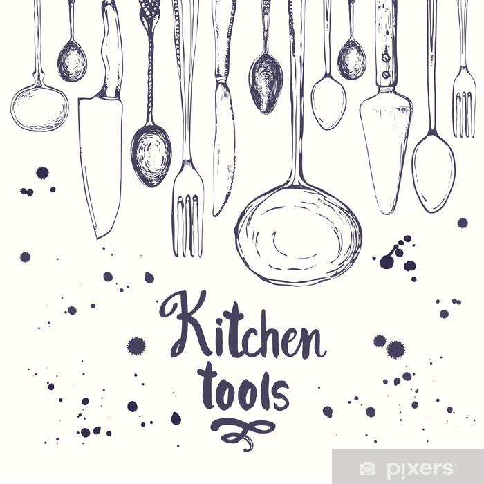 Seamless background with eating utensils. Menu pattern. Pixerstick Sticker - Food