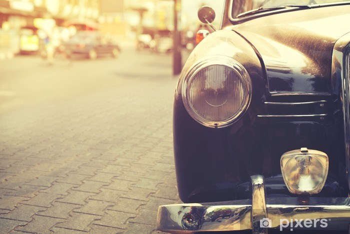 Detail of headlight lamp classic car parked in urban - vintage filter effect style Vinyl Wall Mural - Transport