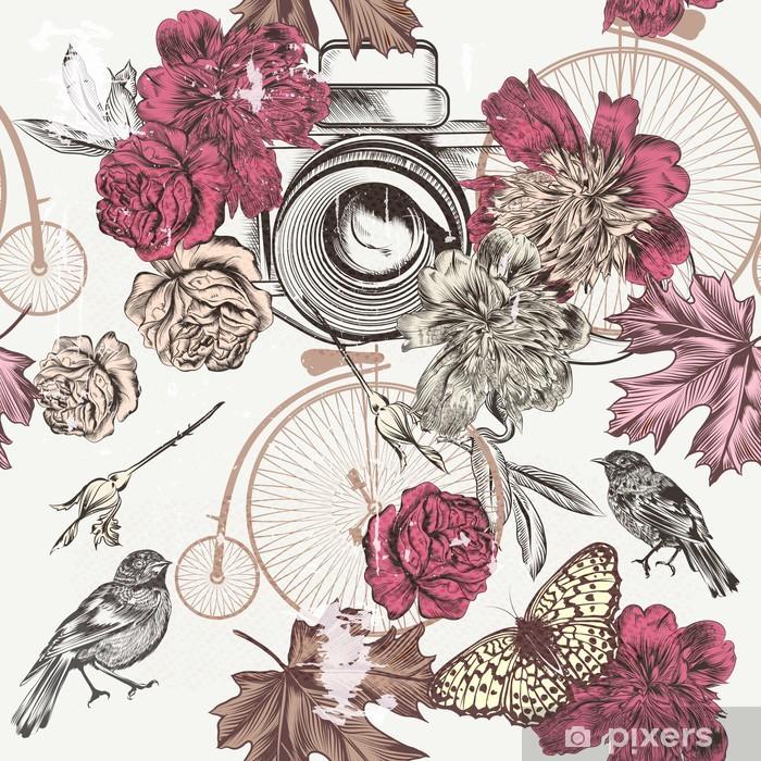 Poster Mode seamless hand drawn cru fleurs de caméra bi - Fleurs