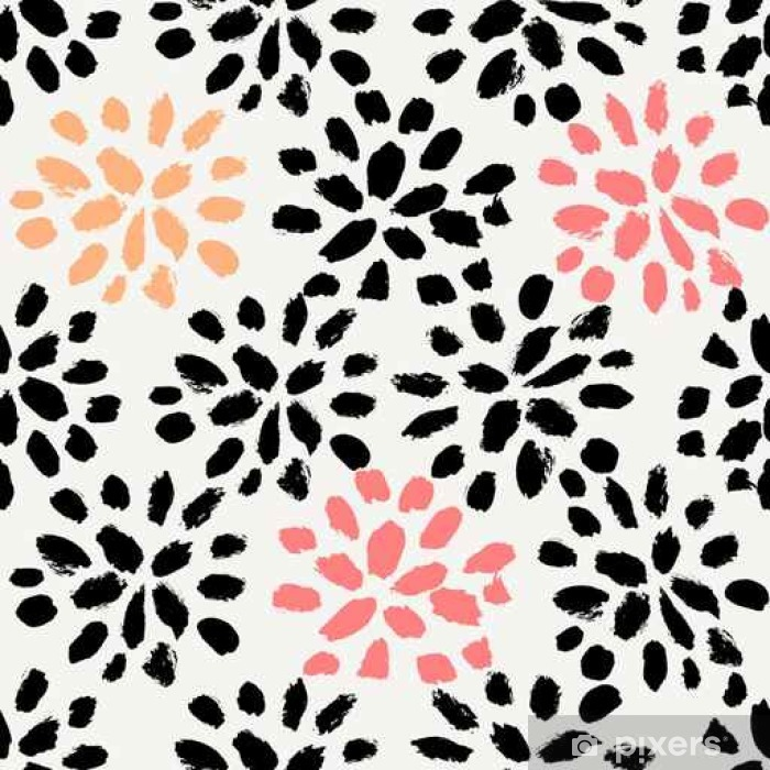 Hand Drawn Floral Seamless Pattern Washable Wall Mural - Graphic Resources