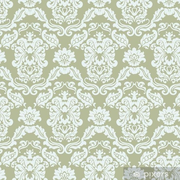 Vinyl Fotobehang Bloemen ornament patroon met gestileerde lelies bloemen. elegante luxe textuur voor achtergronden, achtergronden en uitnodigingskaarten. groene olijfkleur. vector - Grafische Bronnen
