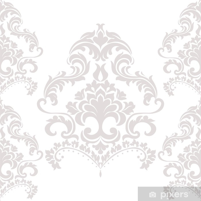 Papier peint vinyle Modèle d'ornement damassé de luxe en beige. vecteur - Ressources graphiques