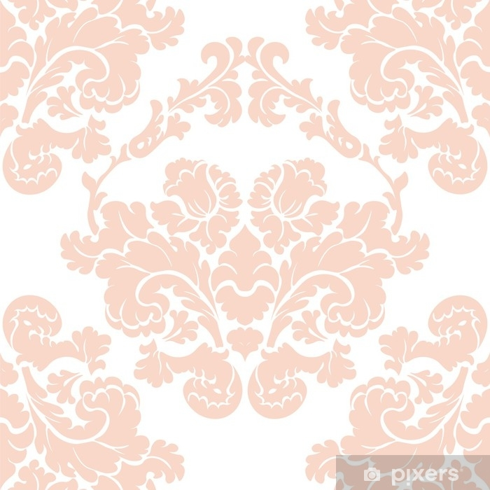 Vintage Damask Elegant Flower Ornament Pattern Luxury Texture For Wallpapers Backgrounds And Invitation Cards Peach Quartz Color Vector Wall Mural