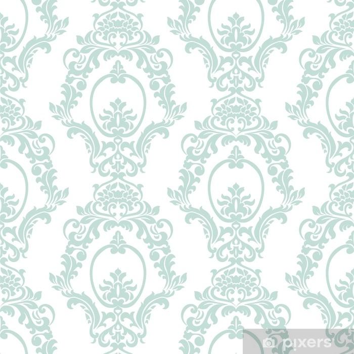 Naklejka Pixerstick Wektor wzór adamaszku ornament w stylu imperialnym. ozdobny kwiatowy element na tkaniny, tekstylia, projektowanie, zaproszenia ślubne, karty z pozdrowieniami, tapety. opalowy kolor niebieski - Zasoby graficzne