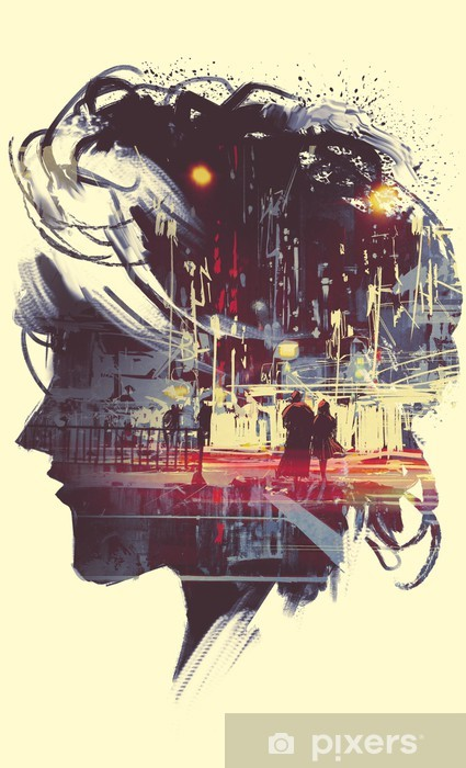 Aufkleber Painting Of Double Exposure Concept With Lady Portrait Silhouette And Couple Walking In Night City Pixerstick