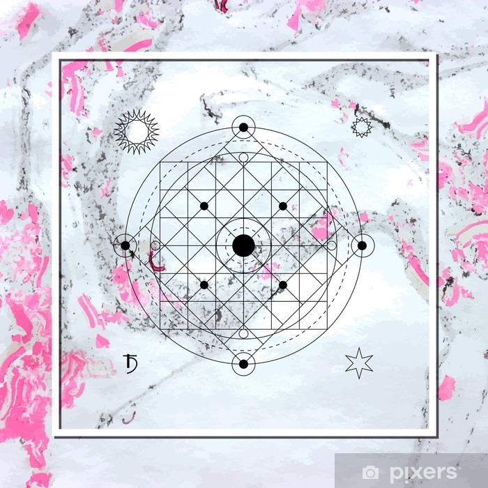 Abstract mystical geometry, linear alchemy, occult, philosophical sign. Poster - Graphic Resources