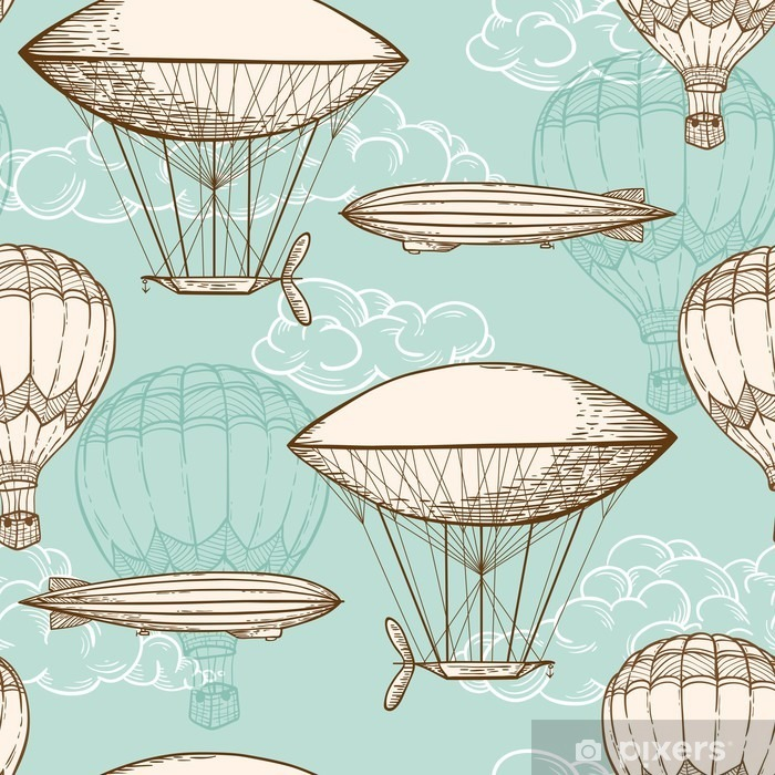 Vintage seamless pattern with air balloons Vinyl Wall Mural - Transport