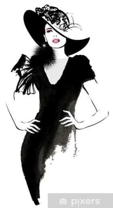 Fotomural Modelo de moda mujer con un sombrero negro • Pixers ... 193dc6c0a7d