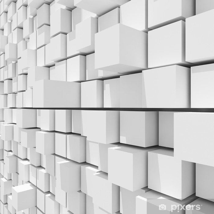 3d rendering of white cubic random level background. Self-Adhesive Wall Mural - Abstract