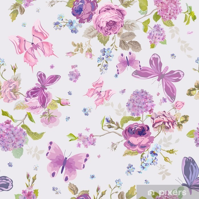 Spring Flowers Background With Butterflies Seamless Floral Shabby