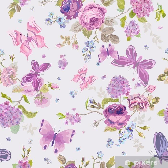 Zelfklevend Fotobehang Lente bloemen achtergrond met Butterflies- Naadloze Floral Shabby - Bloemen en Planten