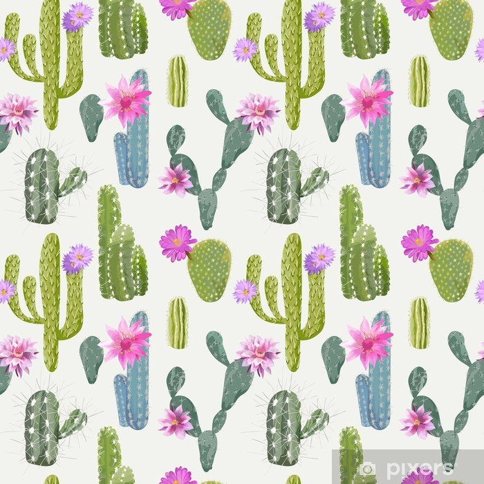 Vector Cactus Background. Seamless Pattern. Exotic Plant. Tropic Pixerstick Sticker - Plants and Flowers