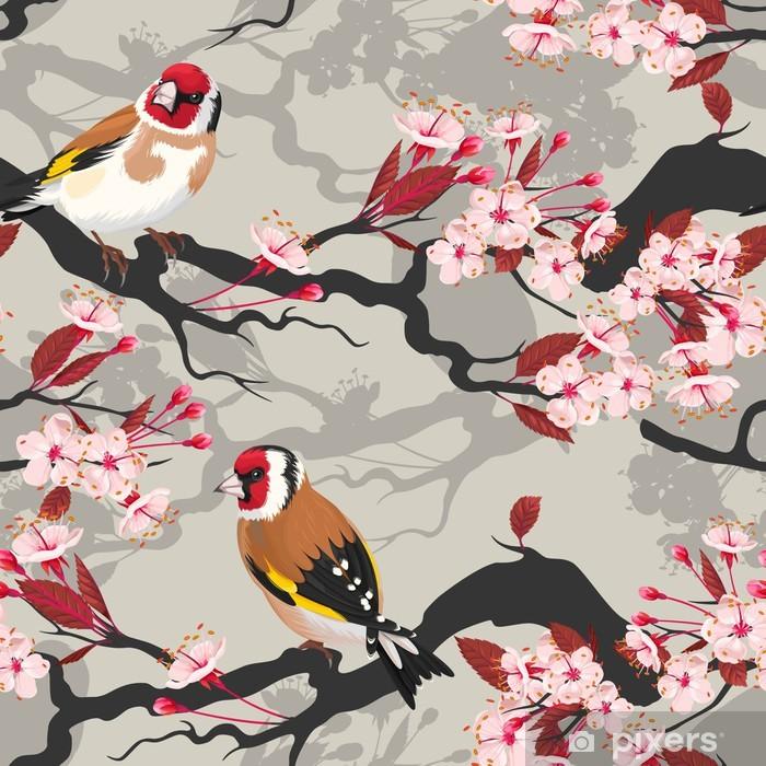 Vinil Duvar Resmi Dikişsiz kiraz çiçeklenme şube - Ağaçlar