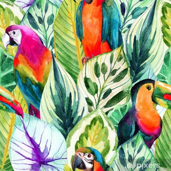 Papier peint vinyle Perroquets aquarelle et modèle sans couture de feuilles tropicales - Animaux
