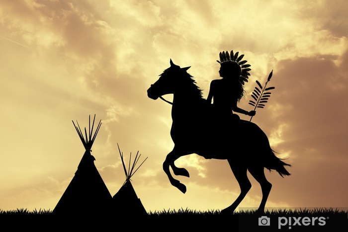 Native American Indian on horseback at sunset Vinyl Wall Mural - Men