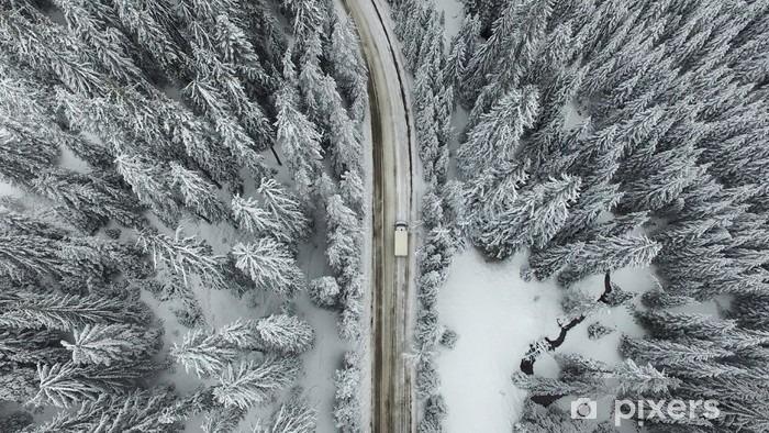 Fototapeta winylowa Snowy drogowego z samochodu w lesie - Krajobrazy