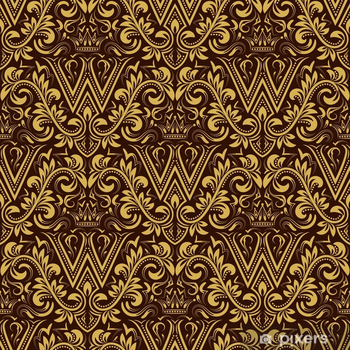 Papier Peint Damask Seamless Repeter Fond Or Brun Ornement Floral Avec La Lettre W Et De La Couronne Dans Le Style Baroque Antique Wallpaper Repetable D Or Pixers Nous Vivons Pour
