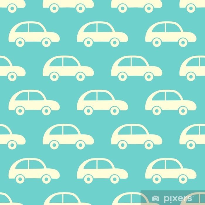Vinyl Fotobehang Vector naadloze patroon met auto's. - Kinderkamer