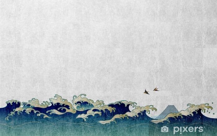 和風背景素材 大波と渡り鳥 Vinyl Wall Mural - Landscapes