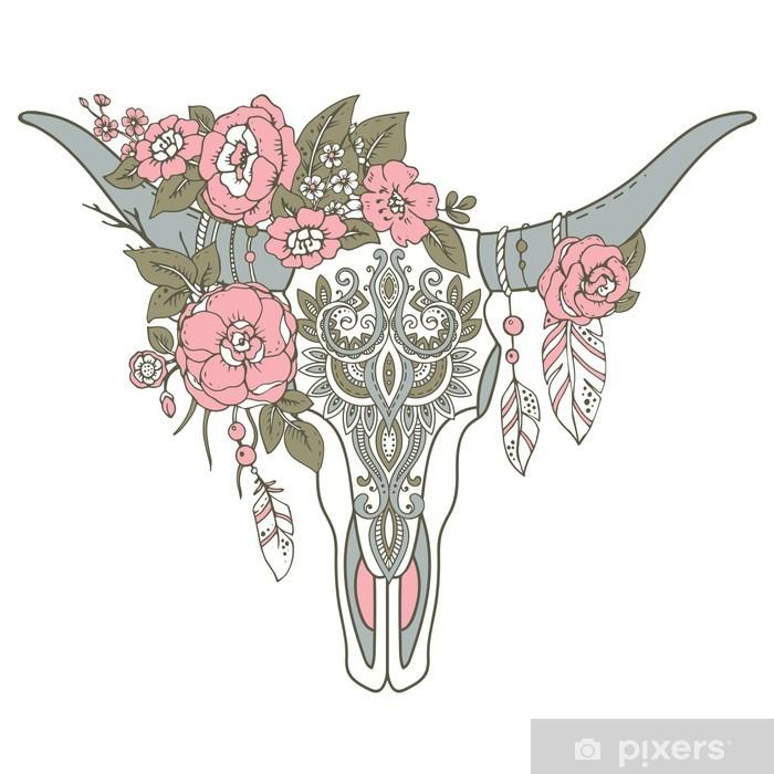 Zelfklevend Fotobehang Decoratieve Indische stier schedel met etnische ornament, bloemen en l - Dieren