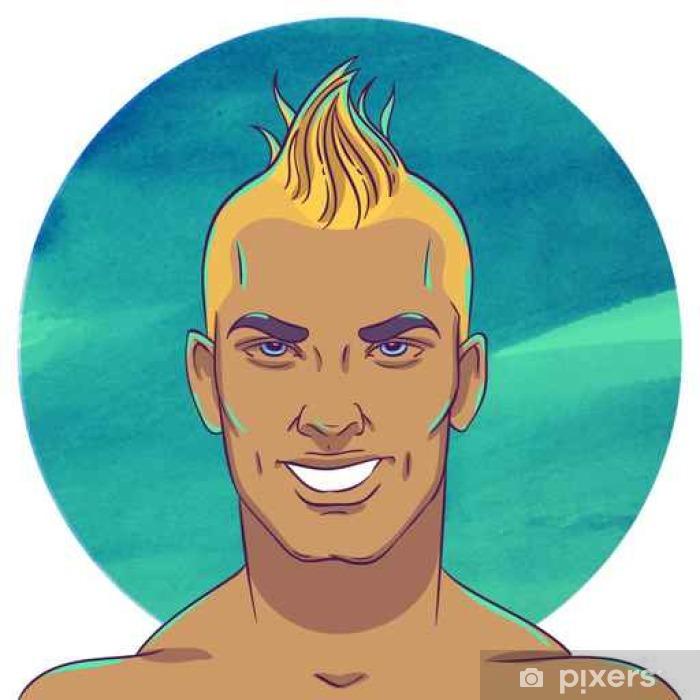 Adesivo Pixerstick Sorridente giovane ragazzo abbronzato con un taglio di  capelli mohawk - Persone 37547d692ff6