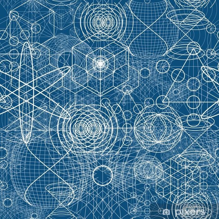 Pixerstick Sticker Heilige geometrie symbolen en elementen behang naadloos patroon - Grafische Bronnen