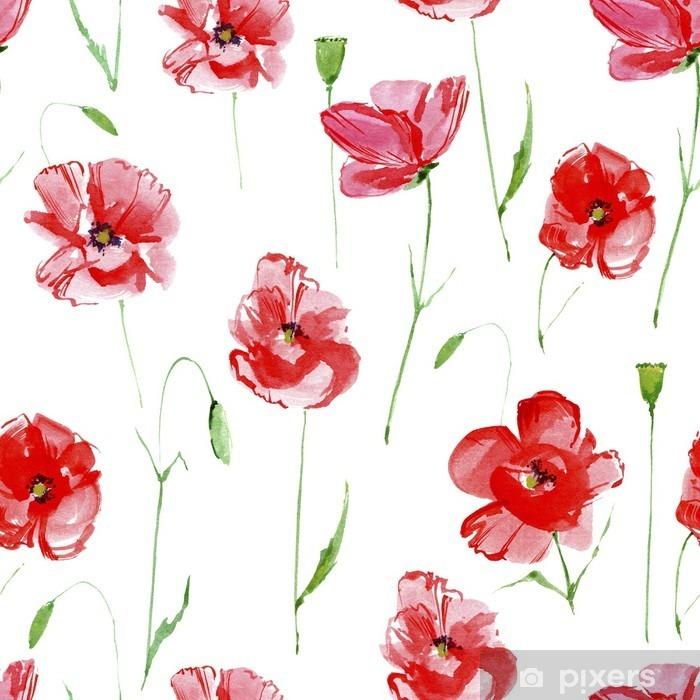 Papier peint vinyle Poppy flowers.Floral pattern.Watercolor seamless main dessiné modèle illustration.White background.Seamless pour le tissu, le papier et d'autres projets d'impression et web. - Plantes et fleurs