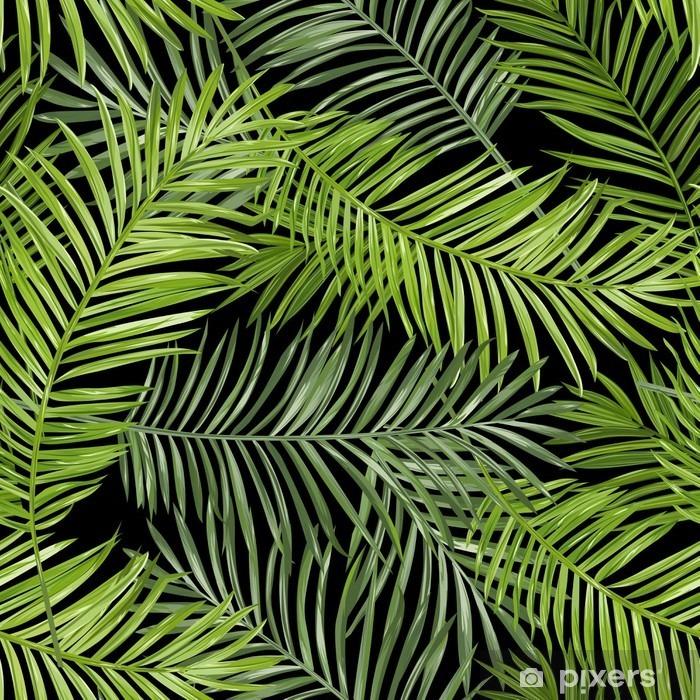 Cam ve Pencere Çıkartması Dikişsiz Desen. Tropikal Palmiye Background bırakır. Vector Background - Çiçek ve bitkiler