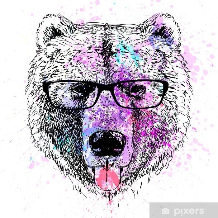 bear character colorful portrait Poster - Lifestyle