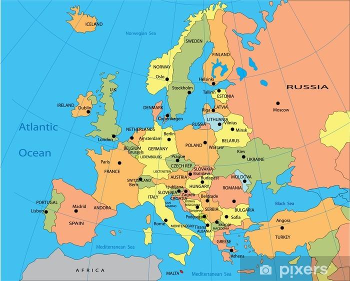 Fototapet Politisk Karta Over Europa Pixers Vi Lever For