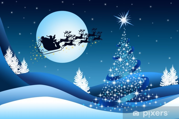Christmas Background Pic.Blue Christmas Background With Santa Claus Sticker Pixerstick